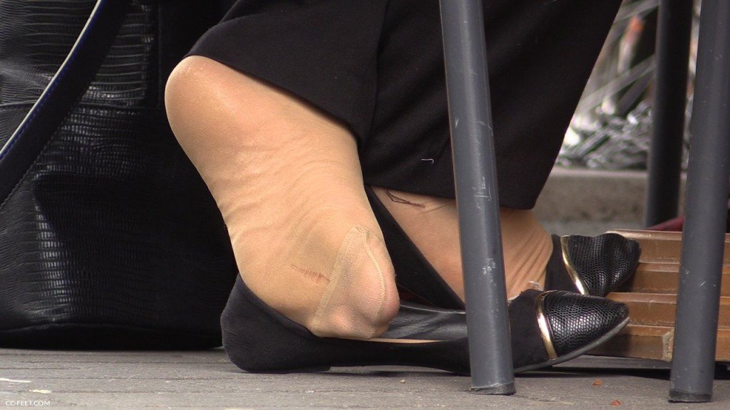 Candid shoeplay feet dangling flats during meeting - 2 part 8