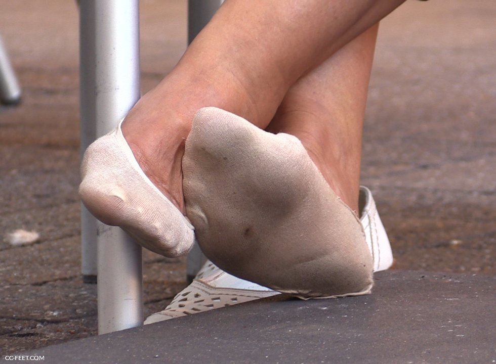 Candid shoeplay feet dangling flats during meeting - 3 part 5